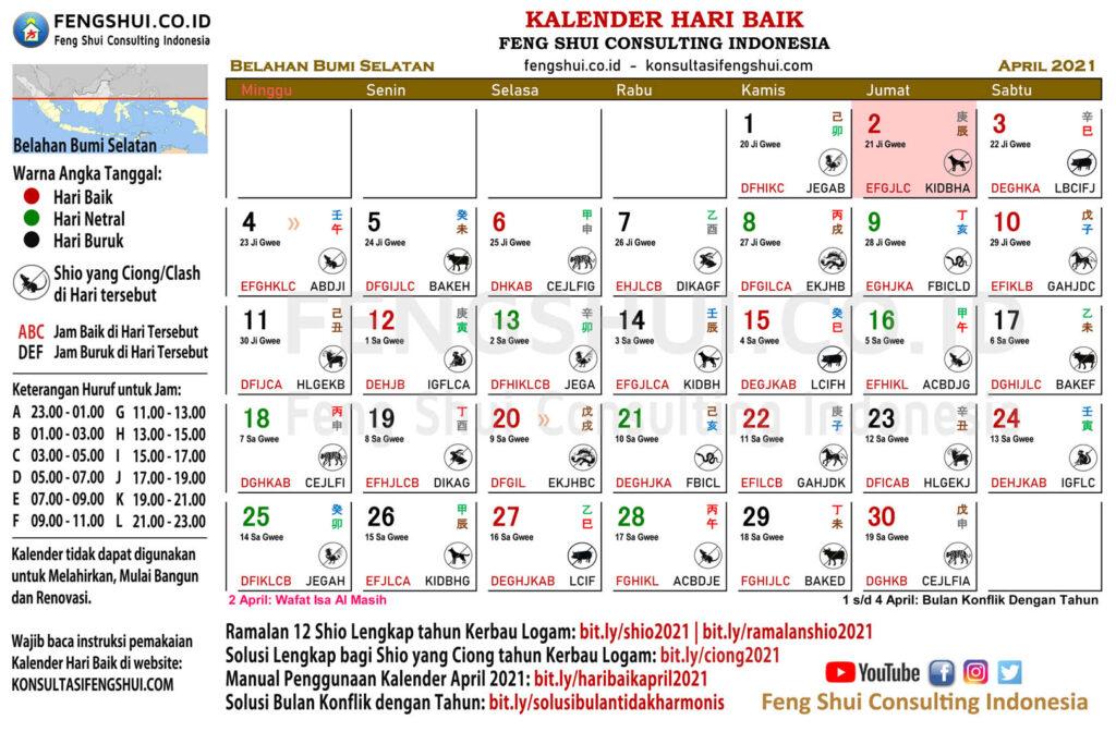 kalender hari baik april 2021 untuk belahan bumi selatan