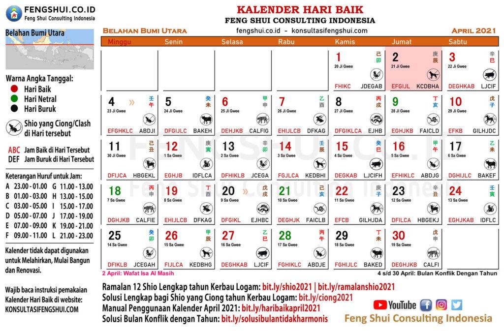 kalender hari baik april 2021 untuk belahan bumi utara