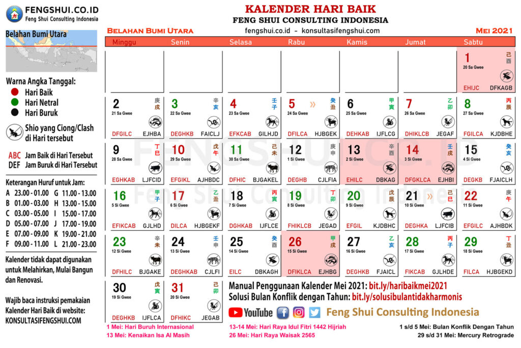 kalender hari baik mei 2021 untuk belahan bumi utara