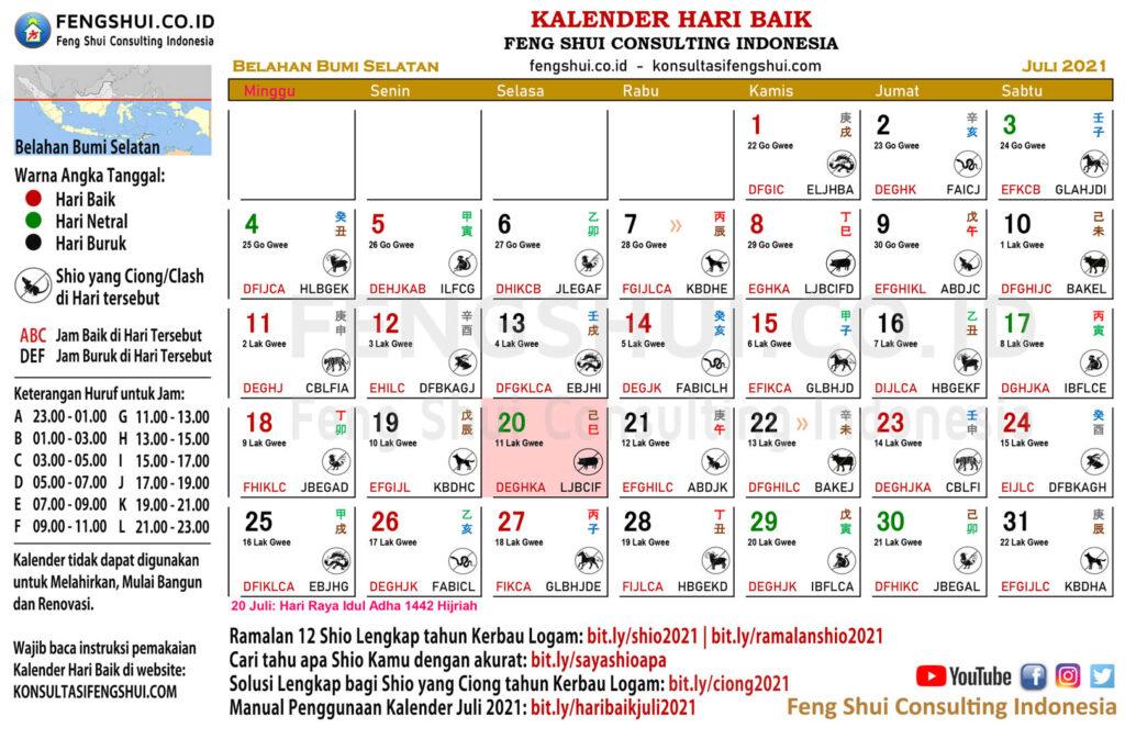 kalender hari baik juli selatan