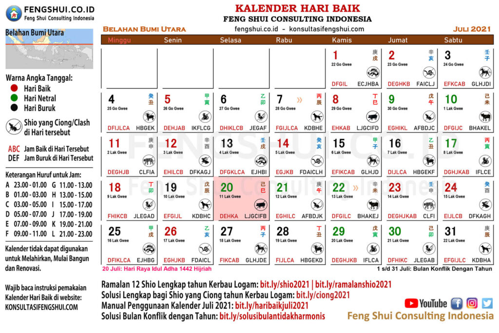 kalender hari baik juli 2021 Utara