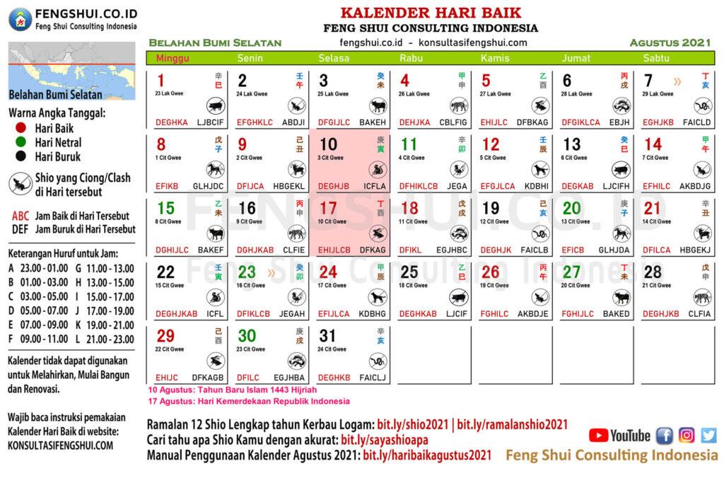 kalender hari baik agustus 2021 belahan bumi selatan