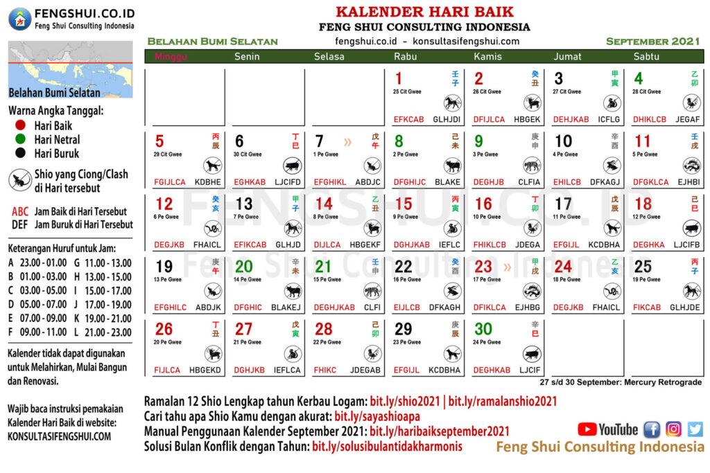 Kalender Hari Baik September 2021 untuk Belahan Bumi Selatan